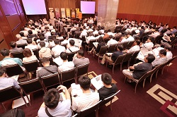 Attendees  listened attentively to the speech by Bryan Huang.