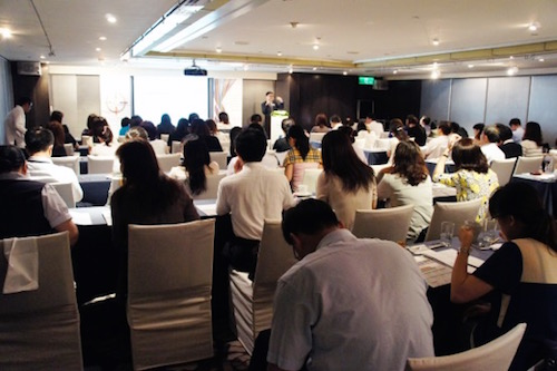 Michael Cheung, head of North Asia of SWIFT, kicked off the event and introduced sanction screening service.