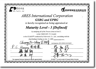 Ares Quality Further Acknowledged With The Pass Of Cmmi